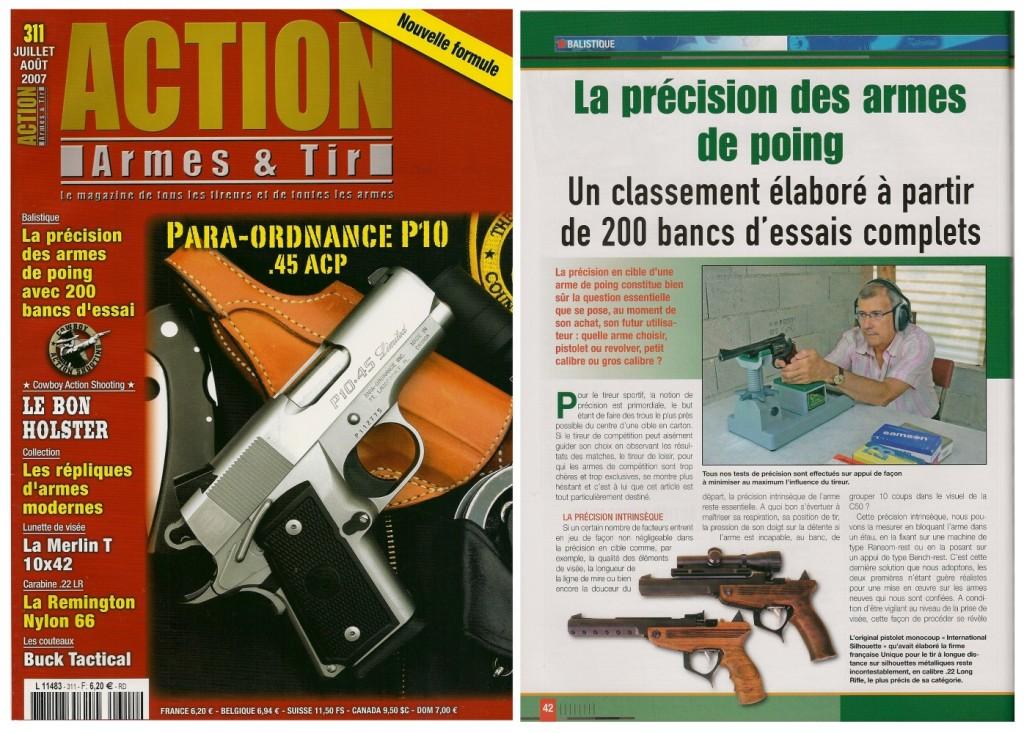 Cet article consacré à la précision des armes de poing a été publié sur 7 pages dans le magazine Action Armes & Tir n°311 (juillet-août 2007)