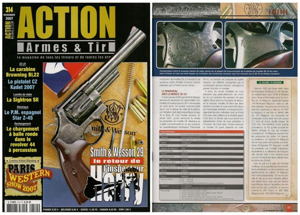 Le banc d'essai du revolver S&W modèle 29/10 a été publié sur 7 pages dans le magazine Action Armes & Tir n°311 (juillet-août 2007)