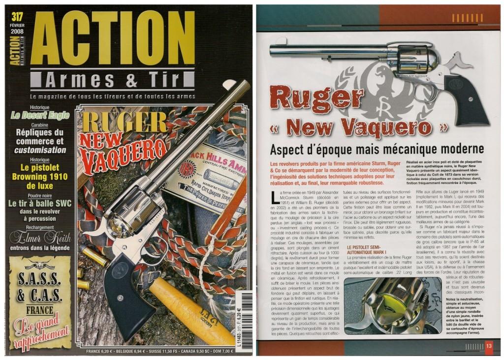 Le banc d'essai du revolver Ruger New Vaquero a été publié sur 8 pages dans le magazine Action Armes & Tir n°317 (février 2008)