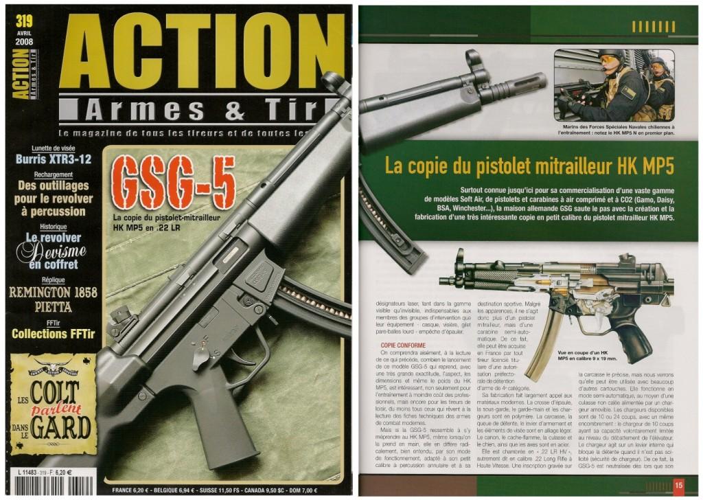 Le banc d'essai de la carabine GSG-5 a été publié sur 7 pages dans le magazine Action Armes & Tir n°319 (avril 2008)
