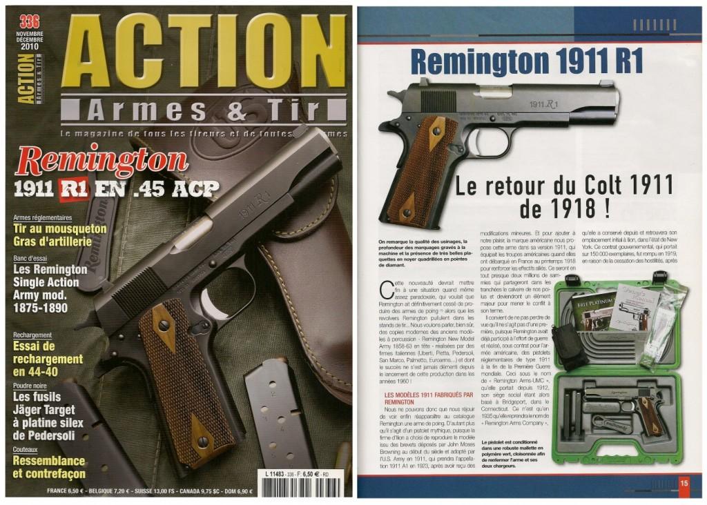 Le banc d'essai du pistolet Remington 1911 R1 a été publié sur 7 pages dans le magazine Action Armes & Tir n°336 (novembre-décembre 2010)