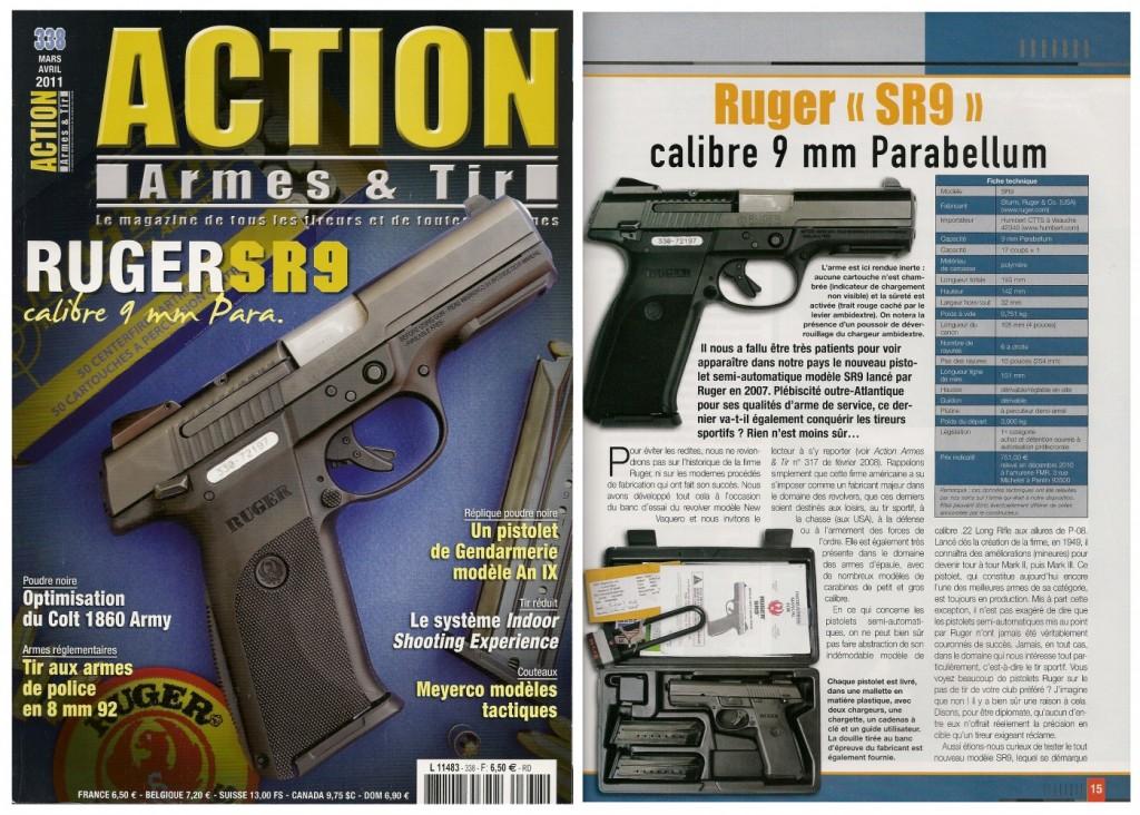 Le banc d'essai du pistolet Ruger SR9 a été publié sur 7 pages dans le magazine Action Armes & Tir n°338 (mars-avril 2011)