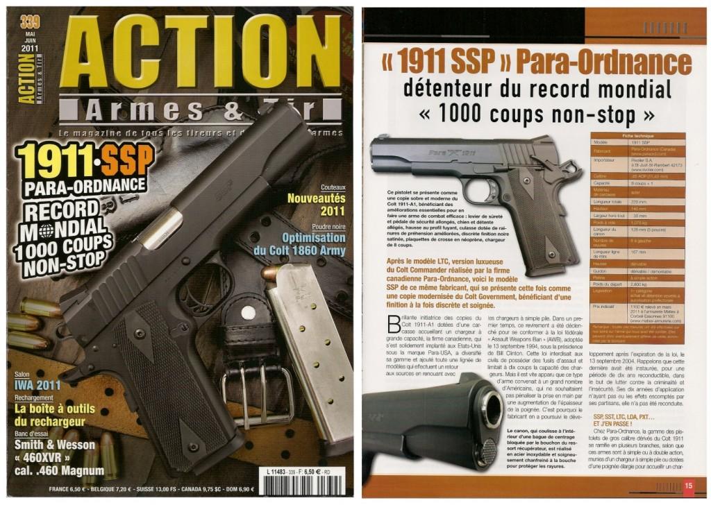 Le banc d'essai du pistolet Para-Ordnance 1911 SSP a été publié sur 7 pages dans le magazine Action Armes & Tir n°339 (mai-juin 2011)