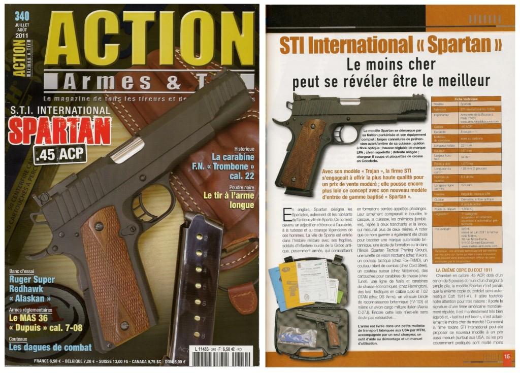 Le banc d'essai du pistolet STI Spartan a été publié sur 7 pages dans le magazine Action Armes & Tir n°340 (juillet-août 2011)