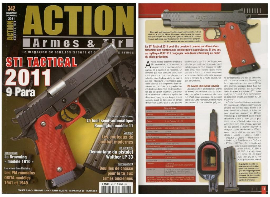 Le banc d'essai du pistolet STI Tactical 2011 a été publié sur 7 pages dans le magazine Action Armes & Tir n°342 (novembre-décembre 2011)