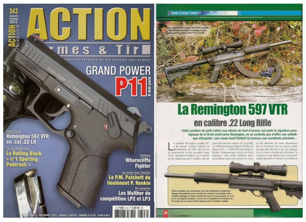 Le banc d'essai de la carabine Remington 597VTR a été publié sur 7 pages dans le magazine Action Armes & Tir n°343 (janvier-février 2012)