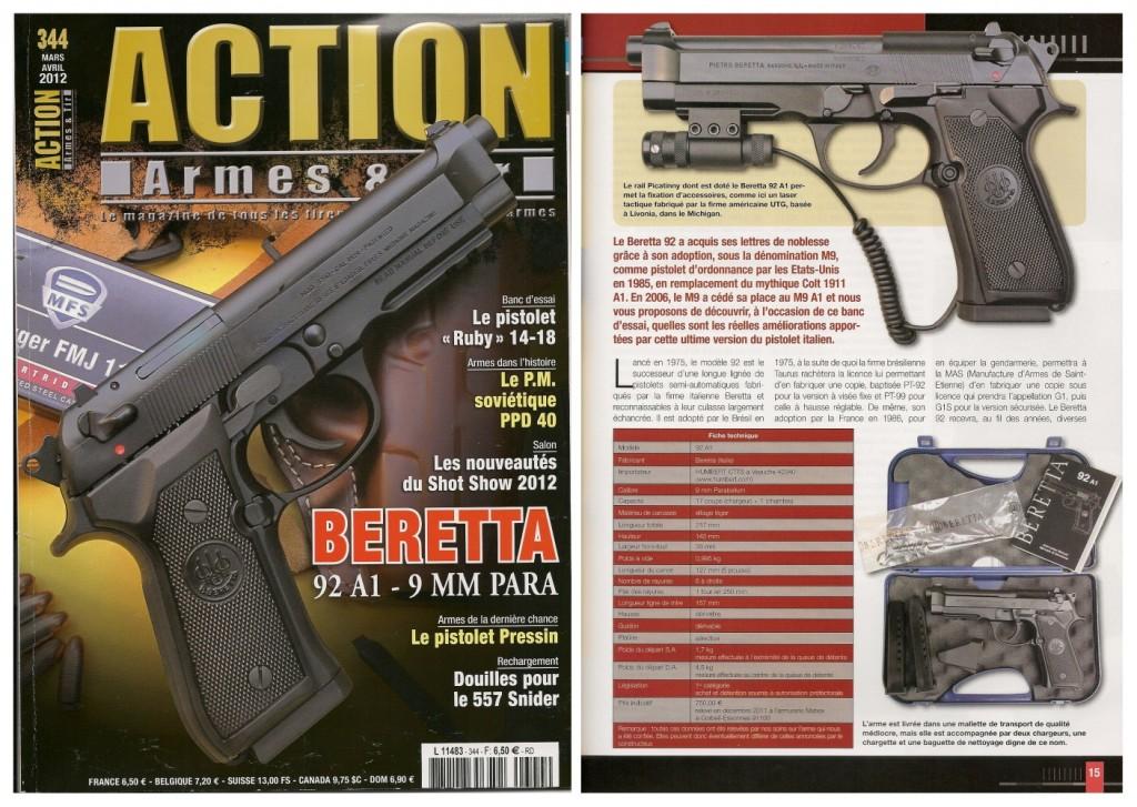 Le banc d'essai du pistolet Beretta 92A1 a été publié sur 7 pages dans le magazine Action Armes & Tir n°344 (mars-avril 2012)