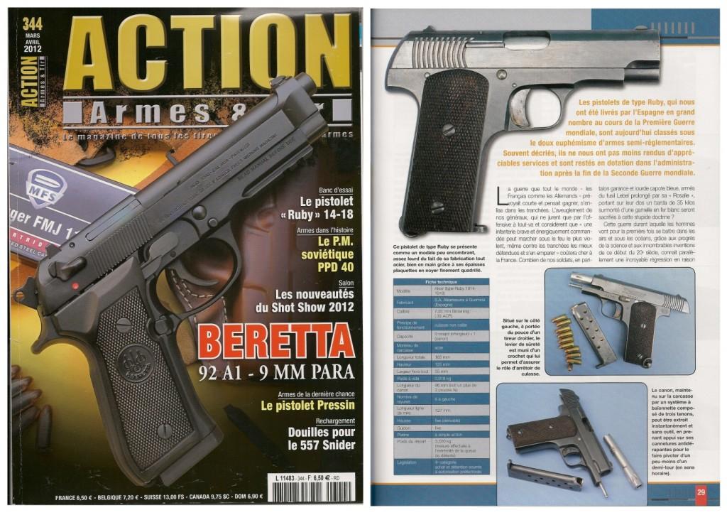 Le banc d'essai du pistolet Alkar type « Ruby 14-18 » a été publié sur 7 pages dans le magazine Action Armes & Tir n°344 (mars-avril 2012)
