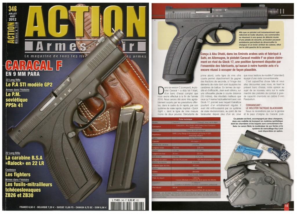 Le banc d'essai du pistolet Caracal F équipé du silencieux RDS Vortex a été publié sur 7 pages dans le magazine Action Armes & Tir n°346 (juillet-août 2012)