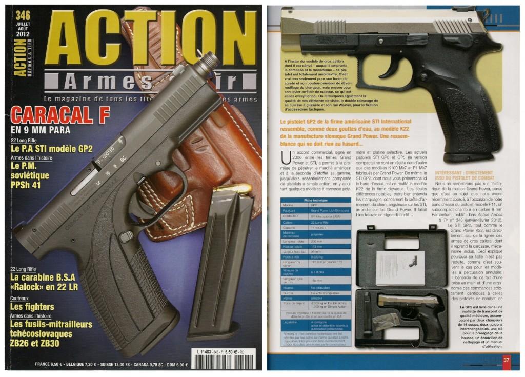 Le banc d'essai du pistolet STI modèle GP2 a été publié sur 6 pages dans le magazine Action Armes & Tir n°346 (juillet-août 2012)