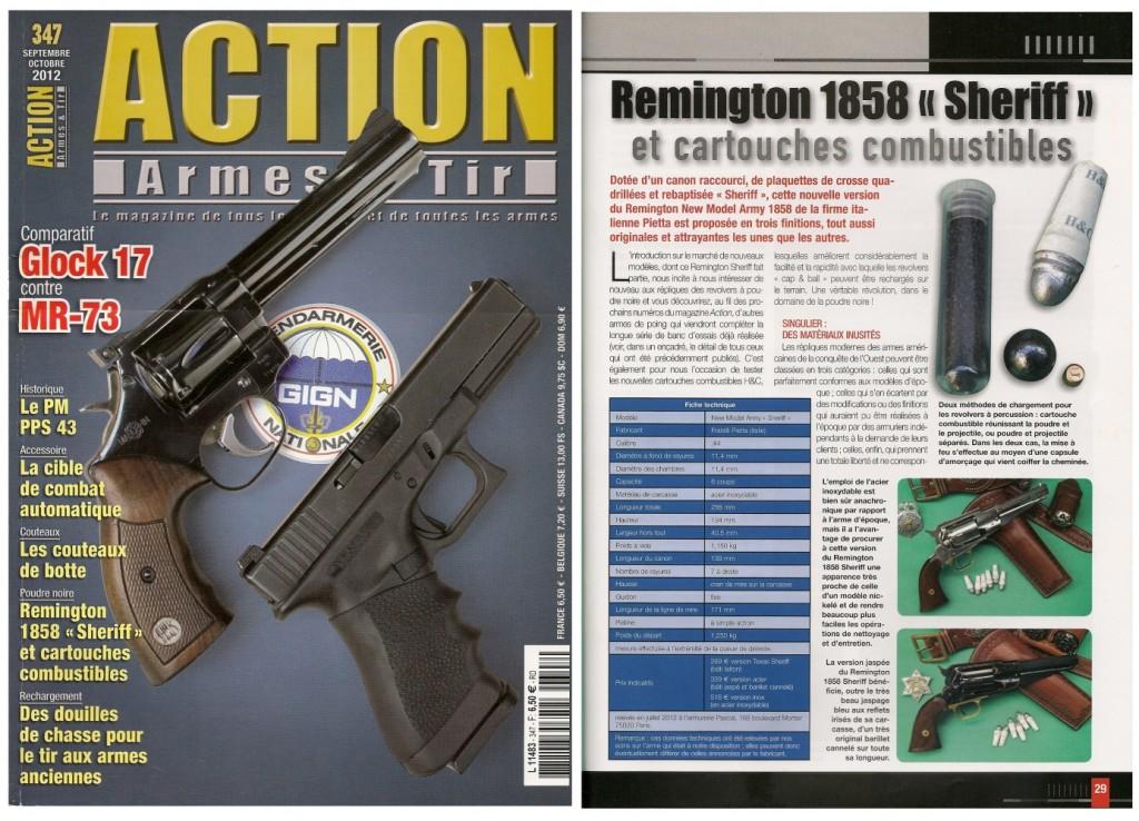 Le banc d'essai du revolver Remington 1858 « Sheriff » et des cartouches combustibles H&C a été publié sur 8 pages dans le magazine Action Armes & Tir n°347 (septembre-octobre 2012)