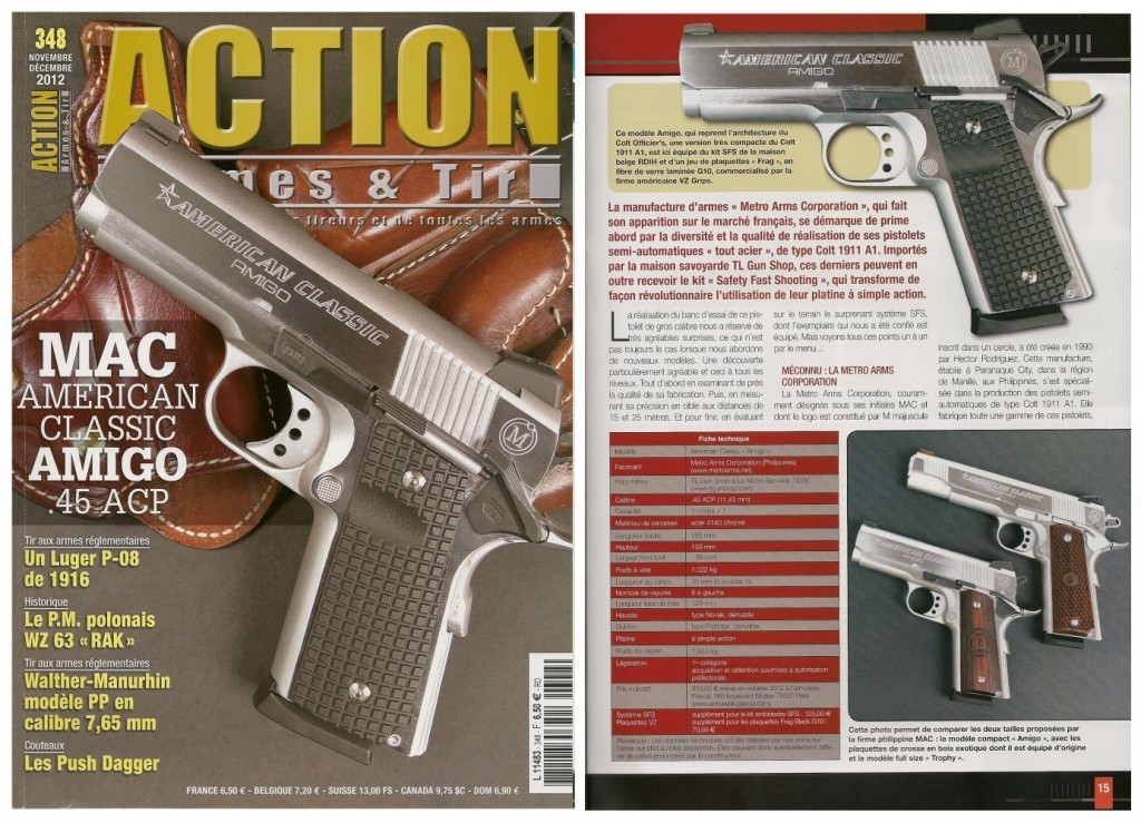 Le banc d'essai du pistolet MAC American Classic « Amigo » a été publié sur 8 pages dans le magazine Action Armes & Tir n°348 (novembre-décembre 2012)