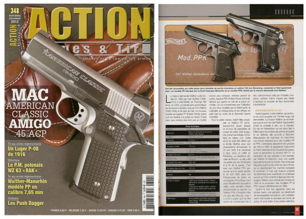 Le banc d'essai du pistolet Walther-Manurhin modèle PP a été publié sur 5 pages dans le magazine Action Armes & Tir n°348 (novembre-décembre 2012)
