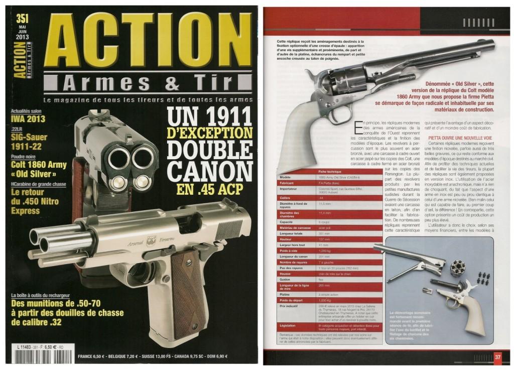Le banc d'essai du revolver Colt 1860 Army « Old Silver » a été publié sur 7 pages dans le magazine Action Armes & Tir n°351 (mai-juin 2013)