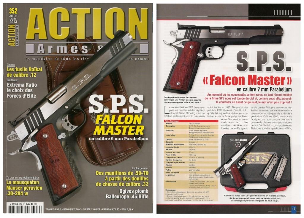 Le banc d'essai du pistolet SPS Falcon Master a été publié sur 7 pages dans le magazine Action Armes & Tir n°352 (juillet-août 2013)