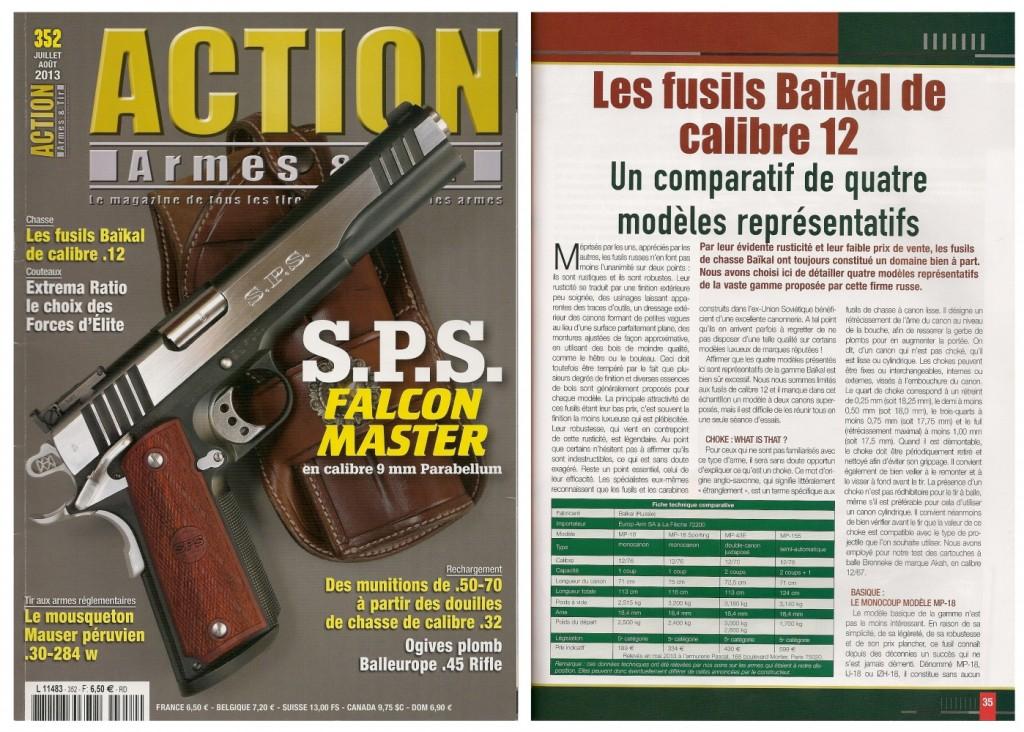 Le banc d'essai des fusils Baïkal a été publié sur 6 pages dans le magazine Action Armes & Tir n°352 (juillet-août 2013)