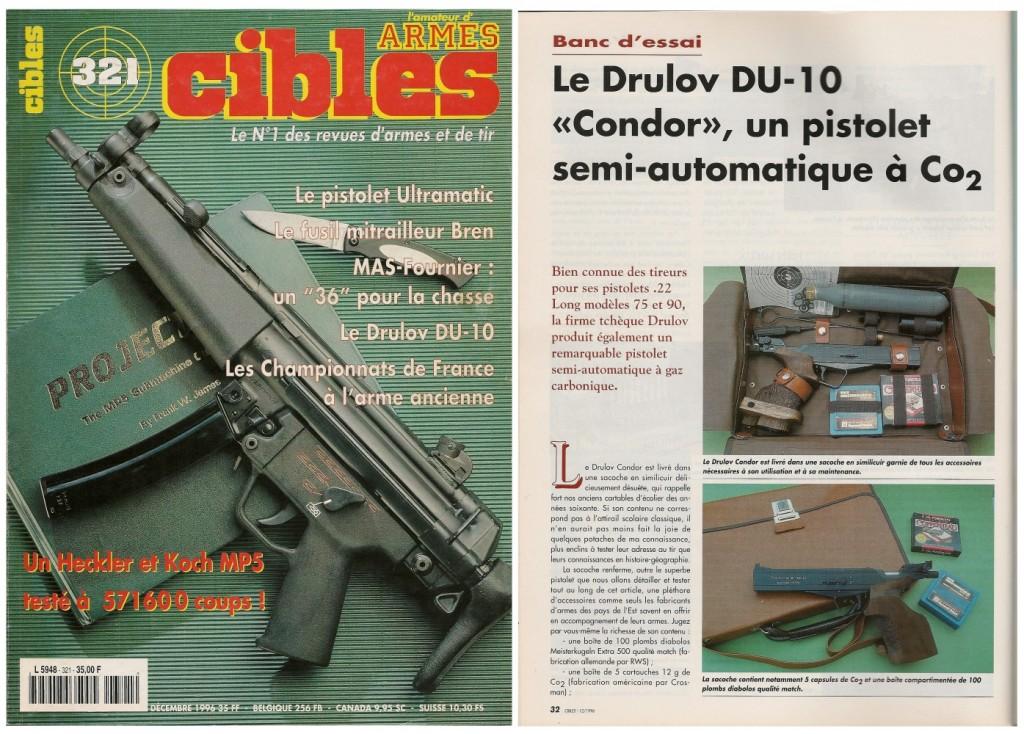 Le banc d'essai du pistolet à CO2 Drulov DU-10 Condor a été publié sur 4 pages dans le magazine Cibles n°321 (décembre 1996)