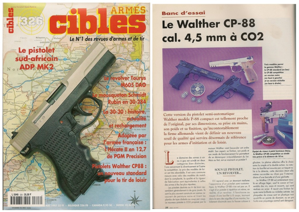 Le banc d'essai du pistolet à CO2 Walther CP-88 a été publié sur 5 pages dans le magazine Cibles n°326 (mai 1997)