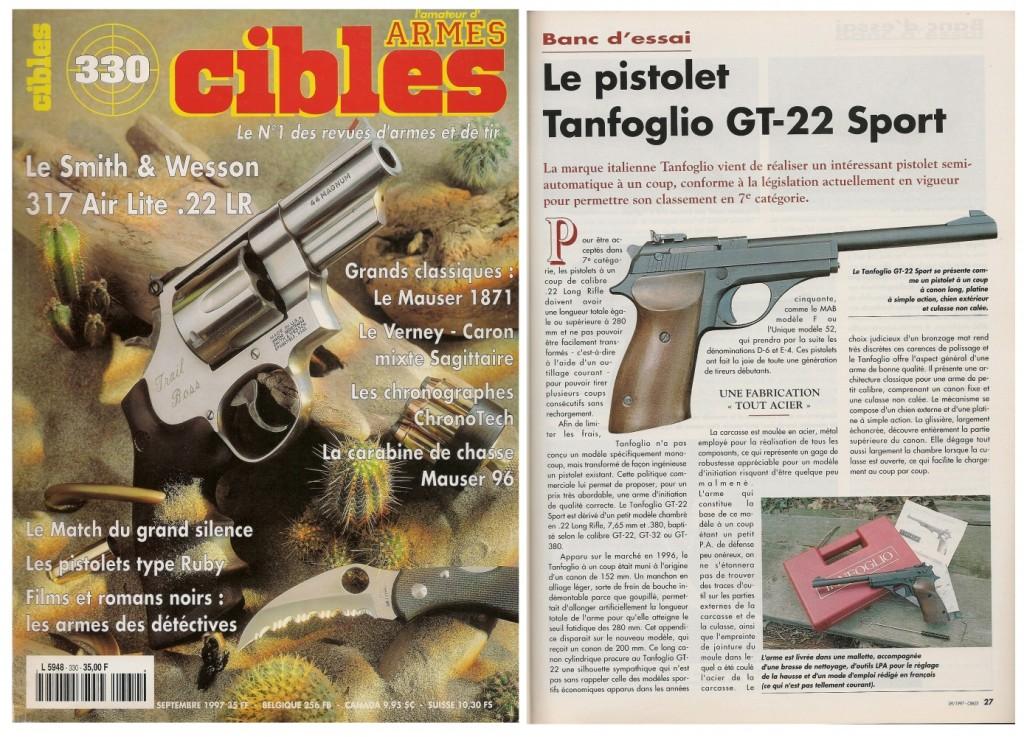 Le banc d'essai du pistolet à un coup Tanfoglio GT-22 Sport a été publié sur 4 pages dans le magazine Cibles n°330 (septembre 1997)
