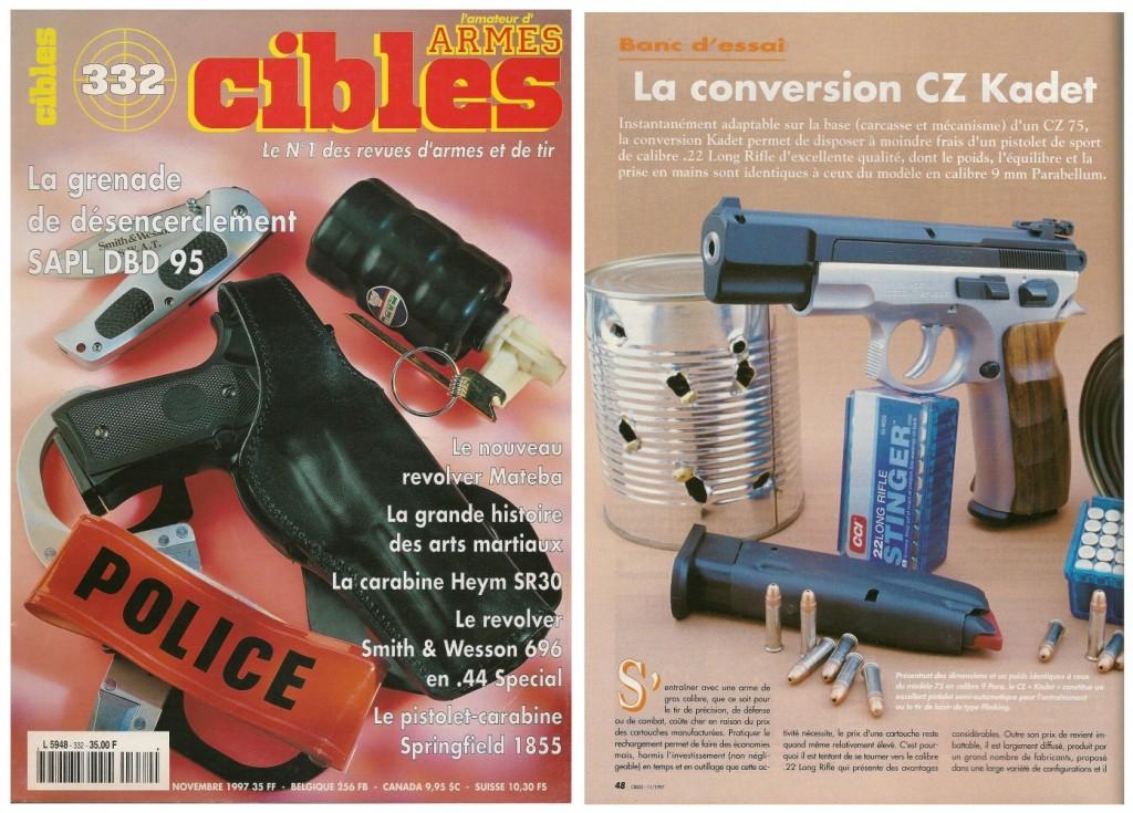 Le banc d'essai de la conversion CZ Kadet a été publié sur 5 pages dans le magazine Cibles n°332 (novembre 1997)