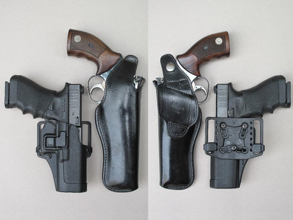 Les holsters : traditionnel, en cuir, pour le modèle « Scorpion » de l'artisan français Daniel Fichepain, destiné au MR-73 ; moderne, en Kydex, pour le modèle « Serpa Concealment » de la firme américaine Blackhawk, destiné au Glock 17.