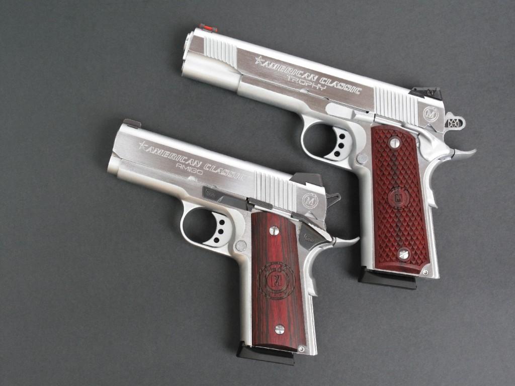 Deux pistolets de la gamme « American Classic » figurant au catalogue de la firme philippine MAC (Metro Arms Corporation) : le « Trophy », à canon de 5 pouces et chargeur 8 coups, est une copie moderne du Colt 1911-A1 tandis que le modèle « Amigo », à canon de 3,5 pouces et chargeur 7 coups, est une copie du Colt Officier's. Ce dernier a été équipé de l'étonnant kit SFS diffusé par la firme belge RDIH.